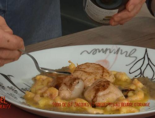 Noix de Saint-Jacques et crevettes roses de Saint-Gilles au beurre d'orange