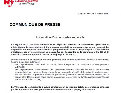 Des couvre-feux instaurés à La Roche-sur-Yon, Fontenay-le-Comte et Luçon