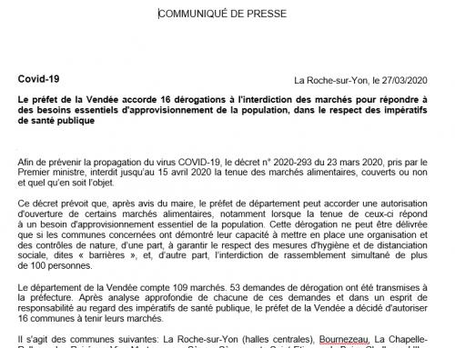 Des dérogations à l'interdiction des marchés accordées par le préfet de Vendée